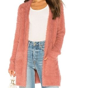 Free People Dusty Pink Faux Fur Cardigan Small NWT
